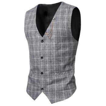V-Neck Single-Breasted Checked Pattern Waistcoat