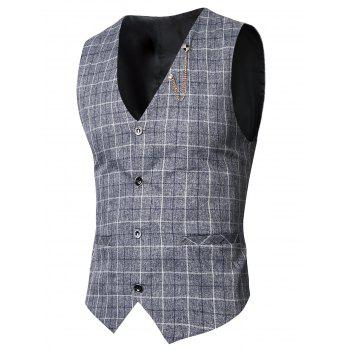 V-Neck single-breasted motif à carreaux Waistcoat