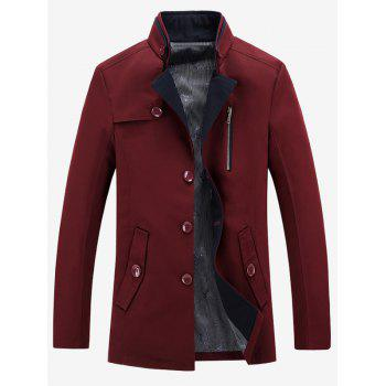 Zipper Embellished Stand Collar Single-Breasted Coat