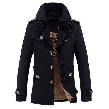 Zip Embellished Turn-Down Collar Single-Breasted Fleece Coat