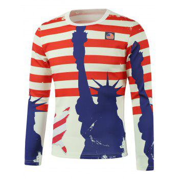 Freedom American Flag Printed Long Sleeve Sweatshirt