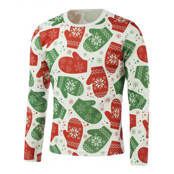 Snowflake Gloves Print Long Sleeve Sweatshirt
