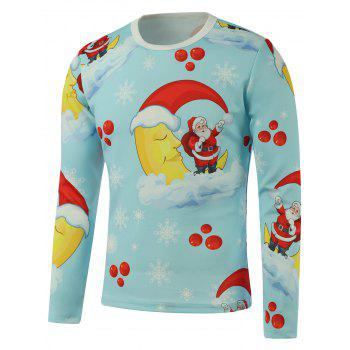 Santa Moon Snowflake Printed Long Sleeve Sweatshirt