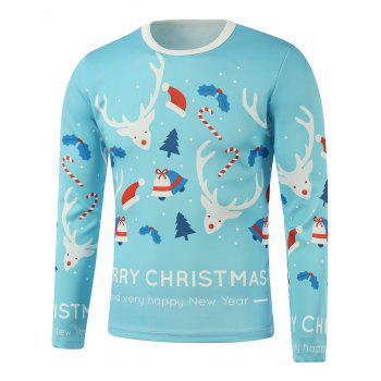 Merry Christmas Candy Cane Elk Printed Long Sleeve Sweatshirt