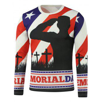 American Flag Crucifix Star Printed Long Sleeve Sweatshirt