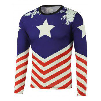 Pentagram American Flag Printed Long Sleeve Sweatshirt