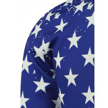 American Flag Star Printed Splatter Paint Sweatshirt - BLUE M