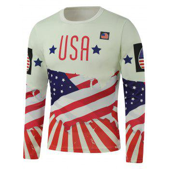 Crew Neck USA Flag Star Printed Long Sleeve Sweatshirt