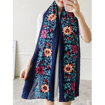 Ethnic Style Flower Embroidered Linen Scarf
