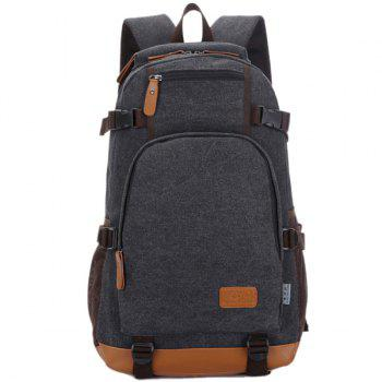 Multi Zips Canvas Backpack - BLACK BLACK