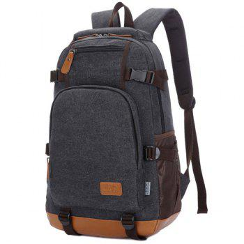 Multi Zips Canvas Backpack -  BLACK