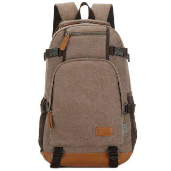 Multi Zips Canvas Backpack - COFFEE COFFEE