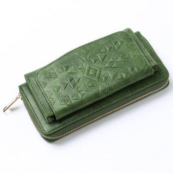 Geometric Embossed Zip Around PU Leather Wallet -  GREEN