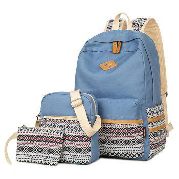 Color Block Canvas Geometric Pattern Backpack