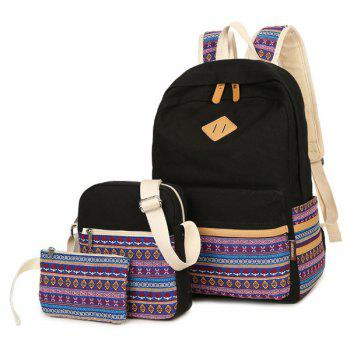 Canvas Colour Block Flower Pattern Backpack