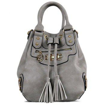 PU Leather Metal Eyelet Tassel Handbag