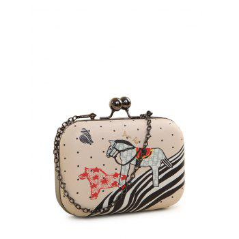 Cartoon Horse Print Kiss Lock Evening Bag - PINK PINK
