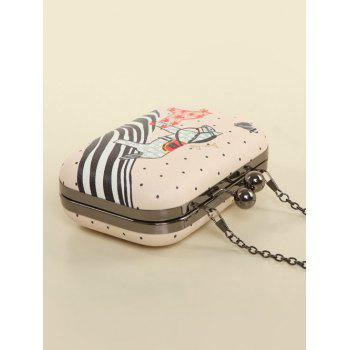 Cartoon Horse Print Kiss Lock Evening Bag -  PINK