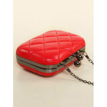 Kiss Lock Quilted PU Leather Evenig Bag -  RED