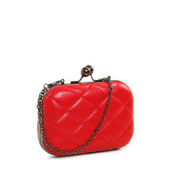 Kiss Lock Quilted PU Leather Evenig Bag - RED RED