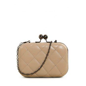 Kiss Lock Quilted PU Leather Evenig Bag - NUDE NUDE