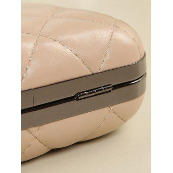 Kiss Lock Quilted PU Leather Evenig Bag -  NUDE