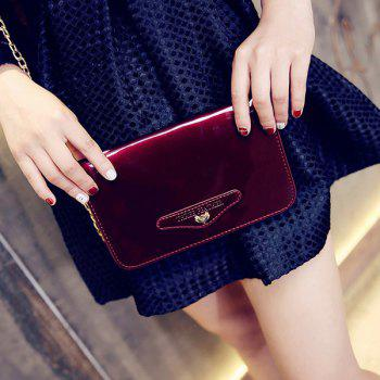 Concise Patent Leather Letter Embossed Crossbody Bag