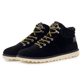 Suede Lace-Up Short Boots - BLACK 42