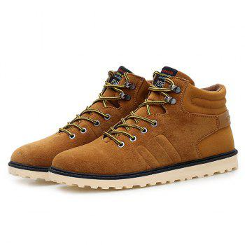 Suede Lace-Up Short Boots - BROWN BROWN