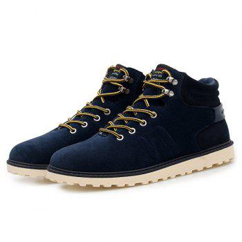 Suede Lace-Up Short Boots - BLUE 44