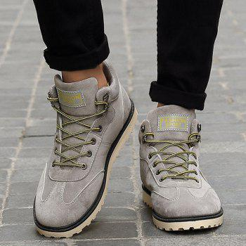 Stitching Lace-Up Suede Short Boots - GRAY 44
