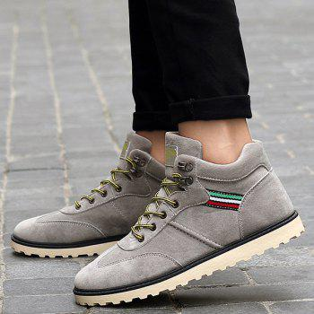 Stitching Lace-Up Suede Short Boots - GRAY 40
