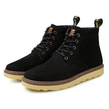 Preppy Eyelet Suede Lace-Up Short Boots - BLACK 42