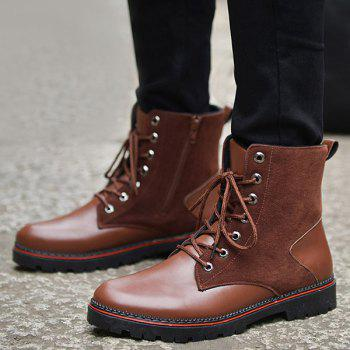 Vintage Lace-Up Suede Spliced Boots - BROWN BROWN