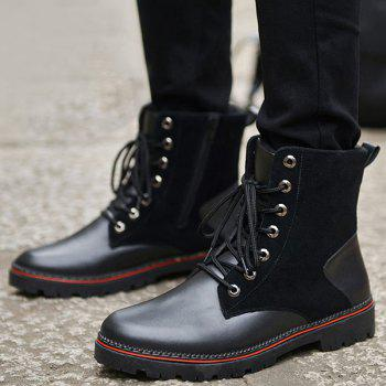 Vintage Lace-Up Suede Spliced Boots - BLACK 41