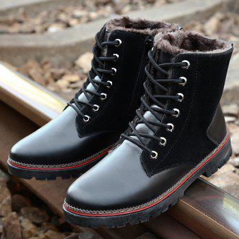Vintage Lace-Up Suede Spliced Boots