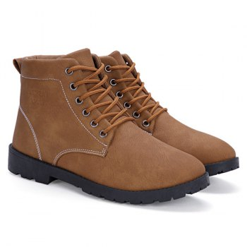 Stitching PU Leather Tie Up Boots - LIGHT BROWN 41