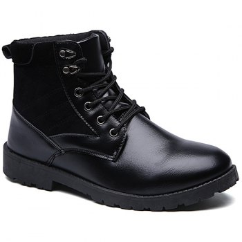 Lace-Up Splicing Dark Colour Boots - BLACK BLACK
