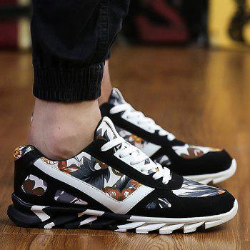 Buy Floral Printed Suede Splicing Athletic Shoes BLACK