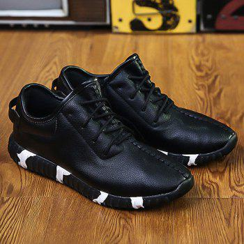 Buy Stitching Textured PU Leather Lace-Up Athletic Shoes BLACK