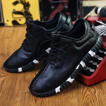 Stitching Textured PU Leather Lace-Up Athletic Shoes - BLACK 40
