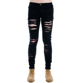 Narrow Feet Dark Wash Zipper Fly Distressed Jeans