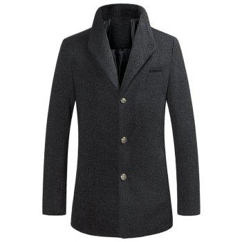 Single Breasted Textured Rough Wool Mix Coat