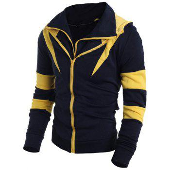 Drawstring Contrast Color Paneled Double Zip Hoodie