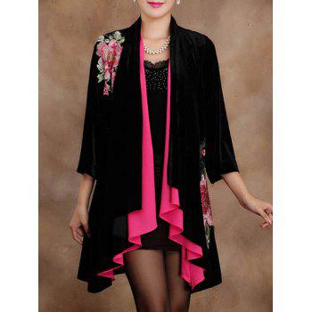Asymmetric Long Embroidered Cardigan