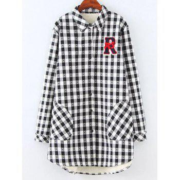 Plus Size Fleece Lined Checked Shirt