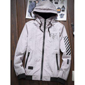 Stripe 51 Printed Zipper-Up Hooded Jacket - GRAY M