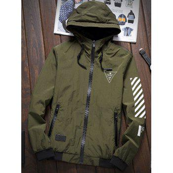 Stripe 51 Printed Zipper-Up Hooded Jacket - ARMY GREEN M
