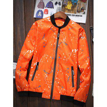 Splatter Printed Stand Collar Zip-Up Pocket Jacket - ORANGE RED 3XL