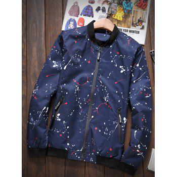 Splatter Printed Stand Collar Zip-Up Pocket Jacket - DEEP BLUE L